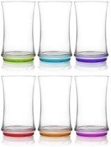 Gurallar gekleurde Longdrinkglazen - 365 ml - 6 stuks
