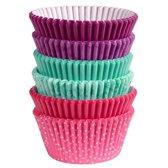 Wilton Cupcakevormpjes Roze/Turquoise/Paars pk/150