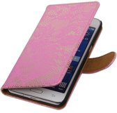 Wicked Narwal | Lace bookstyle / book case/ wallet case Hoes voor Samsung Galaxy Prime G530F Roze