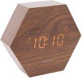 Alarm clock Hexagon dark wood veneer, white LED