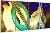 Glasschilderij Londen | Geel, Blauw, Groen | 160x80cm 4Luik | Foto print op Glas |  F003443