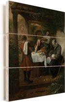 De Emmausgangers - Schilderij van Jan Steen Vurenhout met planken 60x80 cm - Foto print op Hout (Wanddecoratie)