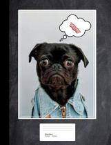 Pug Loves Bacon Composition Book Wide Rule