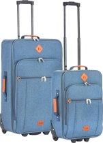 TravelZ Hipster Kofferset - 2-delige Trolleyset met 2 wielen - Jeans Blauw