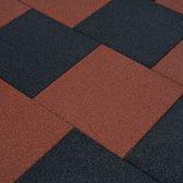 Valtegel 6 st 50x50x3 cm rubber rood (incl. Werkhandschoenen)