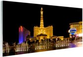 Verlichte Las Vegas strip Glas 90x60 cm - Foto print op Glas (Plexiglas wanddecoratie)