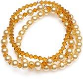 Elastische - Armbanden - Goudkleurige Parels met Topaz Kristallen - Swarovski