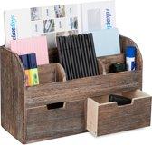relaxdays Bureau organizer - pennenbak - pennenhouder - lades - hout - donkerbruin
