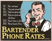 Metalen Retro Bord Bartender Phone Rate