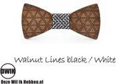 Houten strik: Walnut lines Black / White