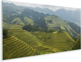 De Rijstterrassen van Lóngjĭ in de bergen van China Plexiglas 80x40 cm - Foto print op Glas (Plexiglas wanddecoratie)