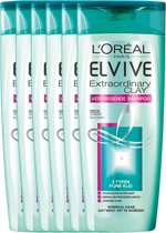 L'Oréal Paris Elvive Extraordinary Clay Shampoo - 6 x 250 ml - Voordeelverpakking