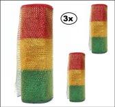 3x Rol tule rood/geel/groen brede streep