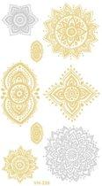Water overdraagbare Metallic Tijdelijke Tattoo: Mandala 60x105mm