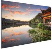 Zonsondergang Hangzhou Aluminium 90x60 cm - Foto print op Aluminium (metaal wanddecoratie)