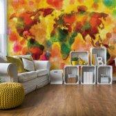 Fotobehang Colourful World Map | VEXXL - 312cm x 219cm | 130gr/m2 Vlies