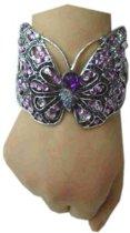 Armband luxe vlinder zilver paars