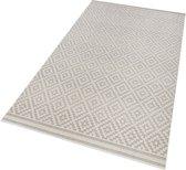 Binnen & buiten vloerkleed ruiten Raute - grijs/crème 200x290 cm