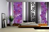 Fotobehang Papier Bloemen, Orchidee   Paars, Grijs   254x184cm