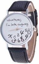 Late anyway zwart/wit horloge