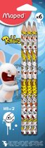 24x Maped Black'Peps potlood HB Rabbids, blister met 6 stuks