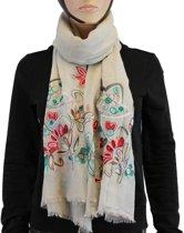 Sjaal 100% Katoen Beige Multi Color