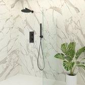Regendoucheset Inbouw Muur Genoa Thin 20cm Rond Mat Zwart Thermostaatkraan Handdouche
