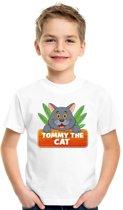Tommy the Cat t-shirt wit voor kinderen - unisex - katten / poezen shirt L (146-152)
