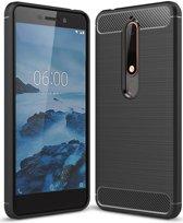 Nokia 6 (2018) Geborsteld TPU Hoesje Zwart