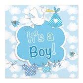 60x Geboorte jongen babyshower servetten blauw 25 x 25 cm papier - Kraamfeestje papieren wegwerp tafeldecoraties