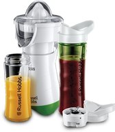 Russell Hobbs Smoothie Maker Mix en Go Juicer, Blender met 2 waterflessen, Citruspers, 300 W, Wit / Groen