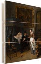 Het doktersbezoek - Schilderij van Jan Steen Vurenhout met planken 60x80 cm - Foto print op Hout (Wanddecoratie)