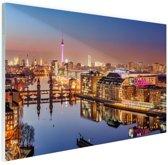 FotoCadeau.nl - Panorama van Berlijn bij schemering Glas 180x120 cm - Foto print op Glas (Plexiglas wanddecoratie)