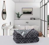 Hoogwaardige Handdoeken Descanso Jacquard Antraciet | 70x140 |  2 Stuks | Elegant en Luxe