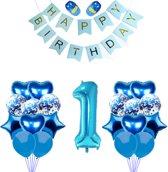 1 Jaar Verjaardag Versiering - Blauw - All-in-one Feestpakket - 1ste verjaardag - Kinderfeestje - Ballonnen - Confetti - Happy Birthday - Verjaardag Jongen- Doe het zelf