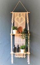 Macramé Wanddecoratie - Wandkleed - Plantenhanger - 150x50cm  - met planken