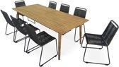 Houten tuinset van hout en touw 8 plaatsen RIO - houten tafel afwerking wit geborsteld 220cm + 8 stoelen van touw, stapelbaar