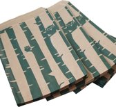 Papieren zakjes / cadeauzakjes 13,5 x 18 cm bruin met groene uiltjes 100 stuks