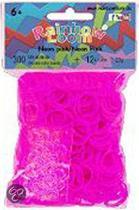 Rainbow Loom Elastiekjes - Neon Roze - Met 12 Clips