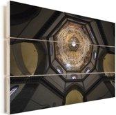 Het plafond van de Dom van Florence in Italië Vurenhout met planken 90x60 cm - Foto print op Hout (Wanddecoratie)
