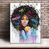 Canvas Schilderij AFRO - Kunst aan je Muur - woonkamer poster - LOVE - DREAM -Veelkleurig Modern Art - 50 x 75 cm
