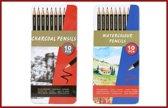 Combiset Aquarel en houtskool potloden in blik