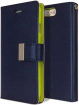 iPhone 7+ Plus Rich Diary hoesje Wallet Case Navy Blauw Groen