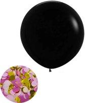 Gender reveal ballon meisje - roze met gouden confetti - 91 cm