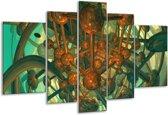 Glasschilderij Abstract | Groen, Bruin | 170x100cm 5Luik | Foto print op Glas |  F003383