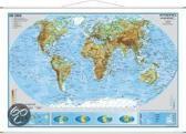 Die Erde, physisch 1 : 40 000 000. Wandkarte Kleinformat mit Metallstäben
