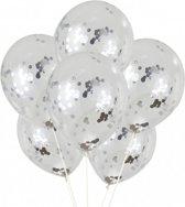 Confetti Ballonnen Zilver | Confetti Transparante Ballonnen | 10 stuks | Verjaardag Babyshower Feesten Party Feest Ballonnen