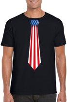 Zwart t-shirt met Amerikaanse vlag stropdas heren - Amerika supporter S