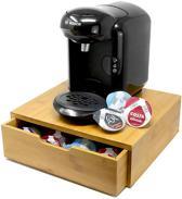 KeukenPrins Premium Bamboe Koffiecapsule Houder & Koffiemachine Standaard met Lade – Koffie Pads en Cups Standaard – Koffie Dispenser - Houder voor Koffie Cups - Dolce Gusto – Theedoos – 64 Pads