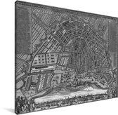 Zwart witte en historische stadskaart van Amsterdam Canvas - Plattegrond 40x30 cm - klein - Foto print op Canvas schilderij (Wanddecoratie woonkamer / slaapkamer)